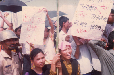 May 13, 1992 showing placards at Khaleda Zia at Khagrachari