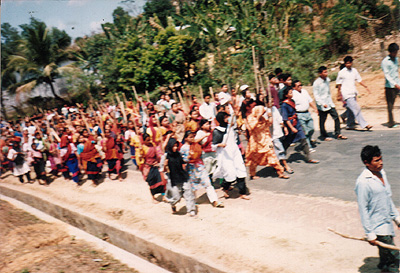 March 8 1996 Lathi wielding Jumma women protests against army-backed PPSPC terrorists