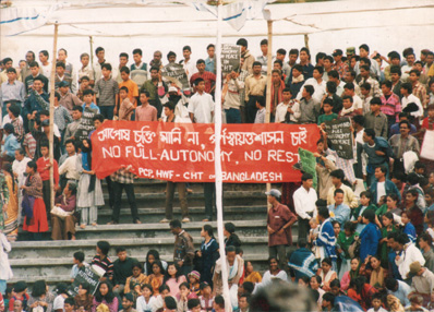 Feb 10, 1998 Jummas protest against surrender by JSS men at Khagrachari Stadium