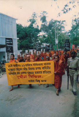 Buddhist monks protest against 16 Oct. 1999 attack at Babuchara