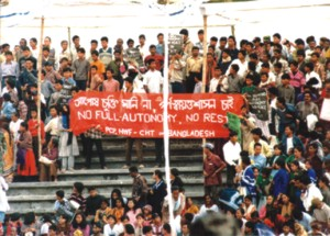 February 10, 1998: when members of Sahanti Bahini, armed wing of the PCJSS, laid down their arms at Khagrachari Stadium, a number of youth protest the Peace Treaty in the same venue, calling for full autonomy